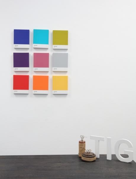 Pantone tiles on wall