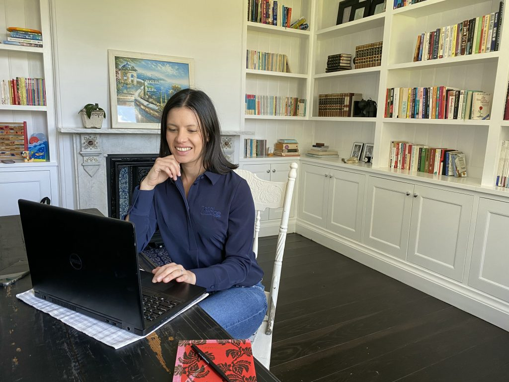Pam Jabbour Working in home office